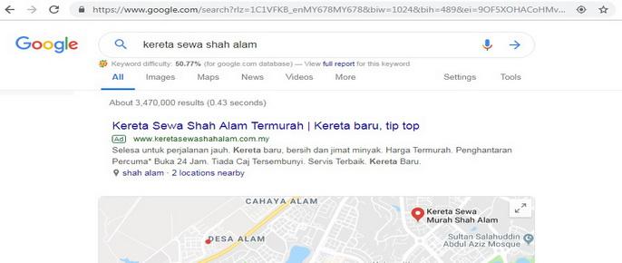 Carian Google Search Engine Kereta Sewa Shah Alam